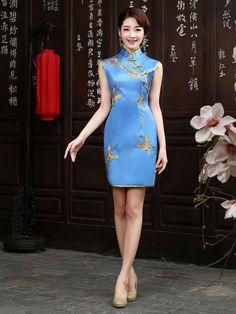 Short Embroidery Cheongsam / Qipao Evening Dress