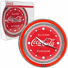 Coca Cola Neon Clock Delicious Refreshing Two Neon Rings ---> Buy the Best Neon Clock On Sale