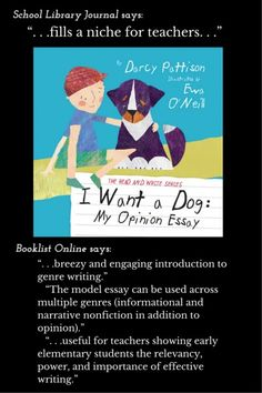 "SLJ and Booklist reviews of ""I Want a Dog"" by Darcy Pattison: Recommended! ""Breezy and engaging.""  "". . .show(s) early elementary students the relevancy, power, and importance of effective writing."" Wow!   Read more Darcy Pattison NEWS: http://www.darcypattison.com/news/"