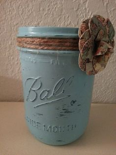 Painted Ball jar with jute and paper flower (1). Completed 11/6/13.