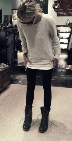 This beige cableknit sweater is comfy and cute with the leggings and combat boots Clothing, Shoes & Jewelry - Women - leggings outfit for women - http://amzn.to/2kxu4S1