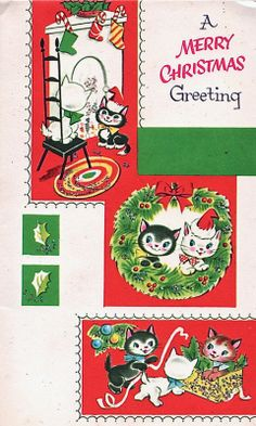 """A Merry Christmas Greeting"" cats card"