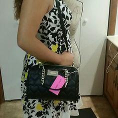 Betsey Johnson medium satchel Black medium size satchel. Black and white name tag. Heart design. Betsey Johnson Bags Satchels