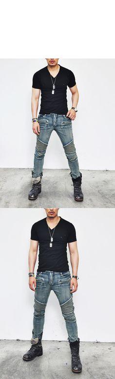 Destroyed Vintage Strappato Young Moda Slim Fit Uomo Camicia di Jeans Biker Moda