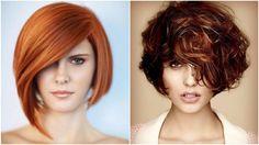 peinados pelo corto, dos propuestas de peinados bob, pelo liso y otra propuesta con pelo rizado, cortes de pelo con mucho volumen