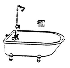 Clawfooted Bathtub, Shower Head w/plumbing, Soap Dish, & Towel Bar: Scale Structures LTD HO scale cast pewter
