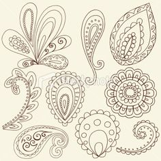 Free Paisley Designs | Henna Doodle Paisley Design Elements Royalty Free Stock Vector Art ...