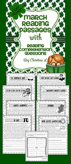 Here are some fun reading passages about March filled with lots of fun facts. Use them as a quick warm up activity, for early finishers or in a reading center. The 8 passages include the following titles: • St. Patrick's Day • Read Across America Day • March Madness • Women's History Month • Pi Day • Ireland • Happy Birthday, Harry Houdini! • In Like a Lion, Out Like a Lamb