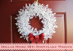 Dollar Store DIY: Snowflake Wreath - My attempt at a snowflake wreath made with all dollar store materials.