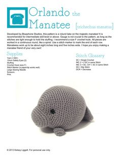 Amigurumi Manatee Pattern : Manatees, Crochet and Free pattern on Pinterest