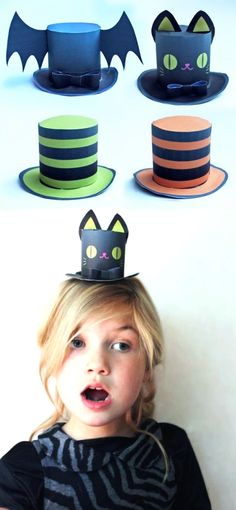 4 No-sew Halloween mini top hats for party costumes. Print and make as many mini top hats as you like. Halloween Hats, Halloween Carnival, Diy Halloween Decorations, Cute Halloween, Halloween Outfits, Holidays Halloween, Mad Hatter Top Hat, Halloween Templates, Crazy Hats