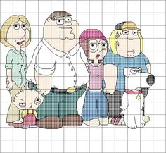 Family Guy Cross Stitch Pattern by SynergyStitches on Etsy, £4.95