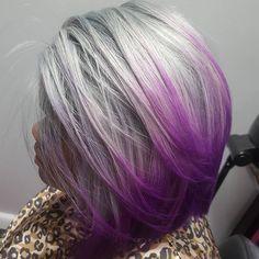 @sugarcanesweetnika we too are infatuated with this purple and platinum beauty!!! #sofun #sotight  #purplehair #grayhair #platinumhair #haircolor #realpurple #purplerage #intensepurple #platinum #crystalclear #kisscolors #bobcut #cutlife #cuttingedge #colortrend #colorpop #colormebad #colorislife #instacolor #coloroftheday #hairoftheday #borntostyle #stylish #fashionable