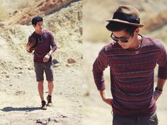 On The Byas Printed Sweater, Pacsun Wooden Frame Wayfarers, Brixton Fedora, Rhythm  Shorts, Fly London Chukka Boots