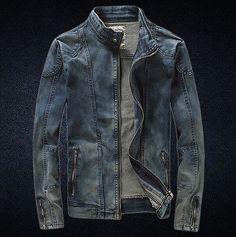 Men's washend Jeans Vintage Desfiado Slim Stand Coleira outwear Denim Jaqueta Casaco 3
