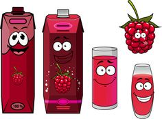 Cartoon style packaging with juice vector set 11