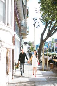 This San Francisco engagement shoot at a coffee shop and park is as cute as can be, perfect for this couple who traveled to the city specifically for the occasion!