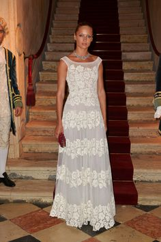 Model Carmen Pedaru wearing a Valentino dress from the Pre- Fall 13/14 collection at the Valentino Ball at Palazzo Volpi during the 70th Venice International Film Festival on September 4th 2013 in Venice