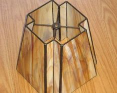 Stained Glass Inward Beveled Corners Lampshade PDF Instructions and Pattern #StainedGlassLamps