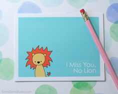 Lion I Miss You Card Handmade Greeting Card Cute Card Goodbye Card Thinking of You Card Fun Card Animal Pun Card Cute Lion Card - pinned by pin4etsy.com