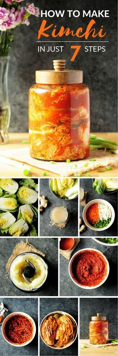Kimchi A step-by-step guide to show you how to make kimchi at home in just 7 steps.A step-by-step guide to show you how to make kimchi at home in just 7 steps. Korean Dishes, Korean Food, Vietnamese Food, Good Food, Yummy Food, Tasty, Asian Recipes, Healthy Recipes, Healthy Food