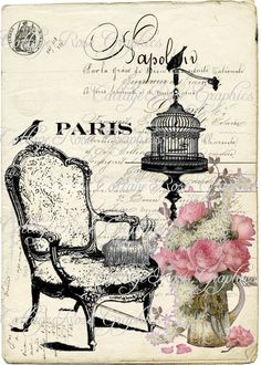 Decoupage on a canvas or wood Decoupage Vintage, Decoupage Paper, Images Vintage, Vintage Pictures, Vintage Labels, Vintage Ephemera, Vintage Paris, French Vintage, Free French