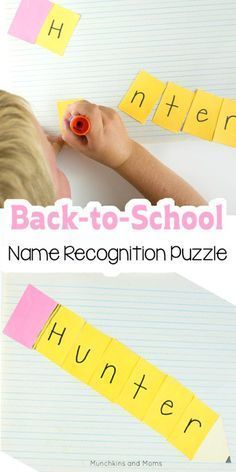 Back-to-School Name Recognition Puzzle - Munchkins and Moms - Back to School Crafts - Preschool name recognition craft for back-to-school - Preschool Name Recognition, Name Activities Preschool, Preschool Curriculum, Preschool Lessons, Preschool Crafts, Preschool Boards, Homeschool, Literacy Worksheets, Preschool Learning