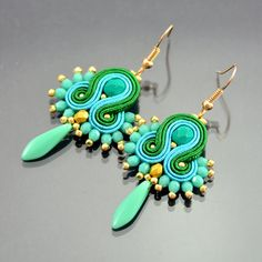 Turquoise Green Soutache Earrings Ikan Todak, Dangle Earrings, Soutache Jewelry, Dangle and Drop Soutache Earrings, Soutache Braid, Classy