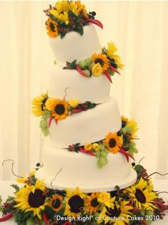 Sunflower wedding cake by Couture Cakes