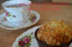 Tea and Toast: White chocolate and cherry muffins with an almond crumb. http://kayleighskitch.blogspot.co.uk/2014/09/white-chocolate-and-cherry-muffins-with.html