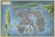 The Free City of Braavos with details of the House of Black and White, The Ragman's Harbor, the Titan and the Sealord's Palace