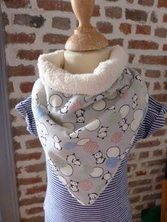 Bavoir bandana éponge écru et panda gris : Mode Bébé par fee-home
