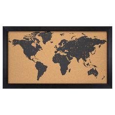 World Map Cork Board 28x16 - Black, Black/Brown