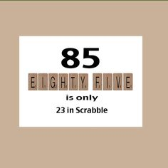 85. Geburtstagskarte, 85. Geburtstag, Meilenstein-Geburtstag, der große 85, lustige Geburtstag, witzig Geburtstag, Scrabble-Card
