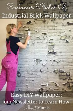 See how this Industrial Brick Wallpaper creates a gritty, urban feel on customer's walls. The realistic looking design is printed on removable wallpaper. White Brick Wallpaper, Diy Wallpaper, Peeling Paint, Easy Diy, How To Remove, Industrial, Texture, Printed, Chic