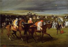 At the Races. the Start - Edgar Degas Start Date: 1861 Completion Date:1862 Style: Impressionism Genre: genre painting Technique: oil Material: canvas Gallery: Fogg Art Museum, Cambridge, Massachusetts, USA