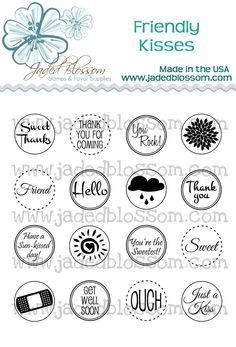 New Stamps from Jaded Blossom! These fit PERFECTLY on the bottom of hershey kisses. Just use a 3/4 inch circle punch to punch them out!