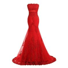 Amazon.com: Sunvary Red Strapless Long Lace Wedding Evening Dress Prom... ($75) ❤ liked on Polyvore featuring dresses, gowns, long lace gown, red lace dress, red strapless gown, lace prom dresses and long prom gowns