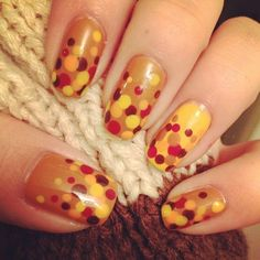 Autumn Dots Nail Art autumn nail art manicures nail design autumn nails fall nails