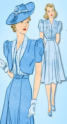 1940s Vintage Advance Sewing Pattern 2236 Plus Size Afternoon Dress Size 40 Bust #Advance #AfternoonDressandBolero