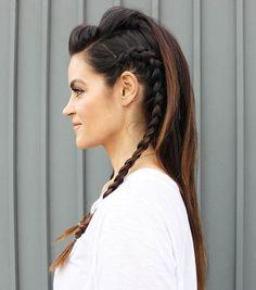half braided mohawk hairstyle