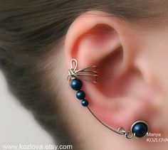 Right Ear Cuff Earrings Silver and Petrol Color by LotEarCuffs