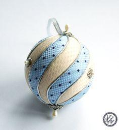 Light blue yellow Christmas Ornament - Custom Ornament - Kimekomi ball - upcycled recycled repurposed on Wanelo