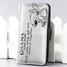 lilo ohana quote disney lillo and stitch wallet case for iphone 4,4s,5,5s,5c,6 and samsung galaxy s3,s4,s5 - LSNCONECALL.COM