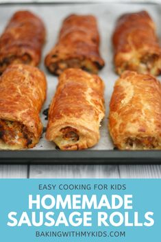 This easy sausage roll recipe is the perfect family dinner. With ready made puff pastry, they can be ready in no time and are a hit with all the family, even fussy eaters. #homemade #how to make #puff pastry #sausages #easy recipe #family dinner #christmas eve #fussy eaters #recipe easy Easy Sausage Roll Recipe, Homemade Sausage Rolls, Cooking With Kids Easy, Cooking Ideas, Cooking Recipes, Quick Weeknight Dinners, Easy Family Dinners, Fussy Eaters, Game Day Food