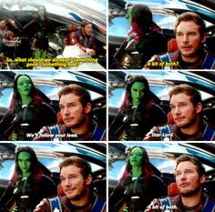 """Something good? Something bad? A bit of both?"" - Star-Lord and Gamora #GuardiansOfTheGalaxy"