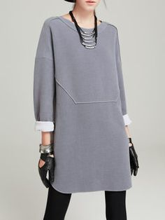Light Gray Long Sleeve Crew Neck Plain Shift Mini Dress Light gray, long-sleeved round neck with round neck Look Fashion, Hijab Fashion, Winter Fashion, Fashion Dresses, Womens Fashion, Fashion Design, Fashion Vestidos, Mode Inspiration, Sewing Clothes