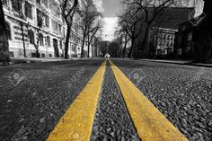 Double Yellow Lines In City Street Stock Photo, Picture And ...