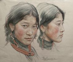 Saatchi Online Artist William Wu; Drawing, Portrait of twin girls in Tibet #art