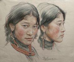 Saatchi Online Artist William Wu; Drawing, Portrait of twin girls in Tibet #art